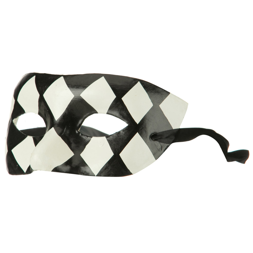 Harlequin Mask - Black White - Hats and Caps Online Shop - Hip Head Gear