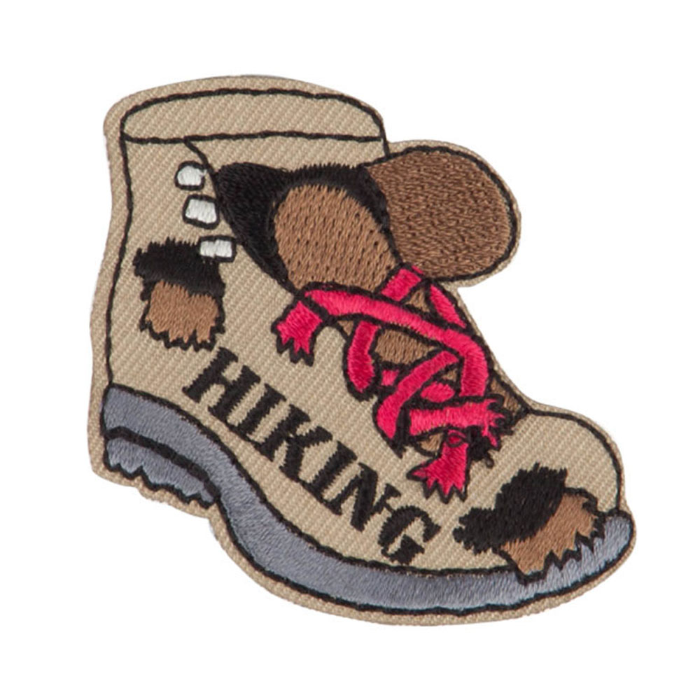 Hiking Embroidered Patches - Brown