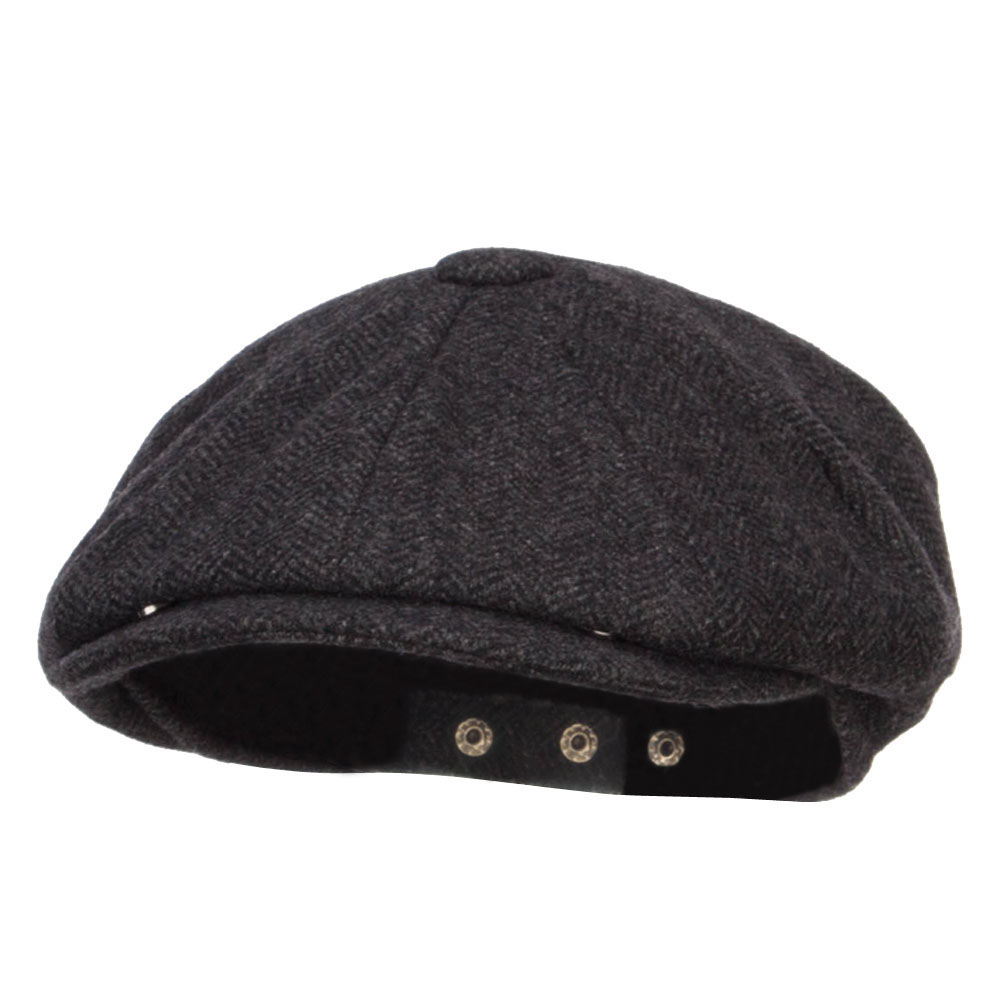 Men's Herringbone Wool 8 Panel Newsboy - Grey
