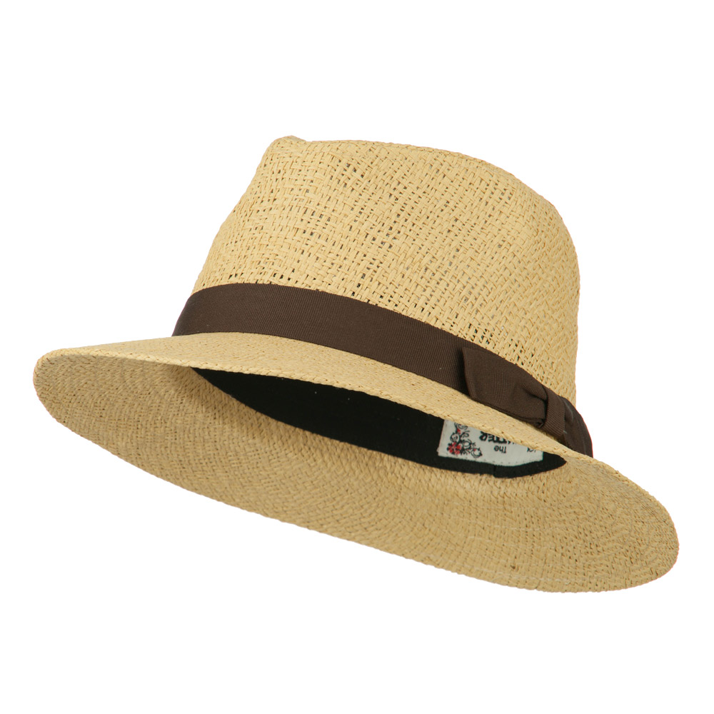Panama Hat With Color Band - Brown