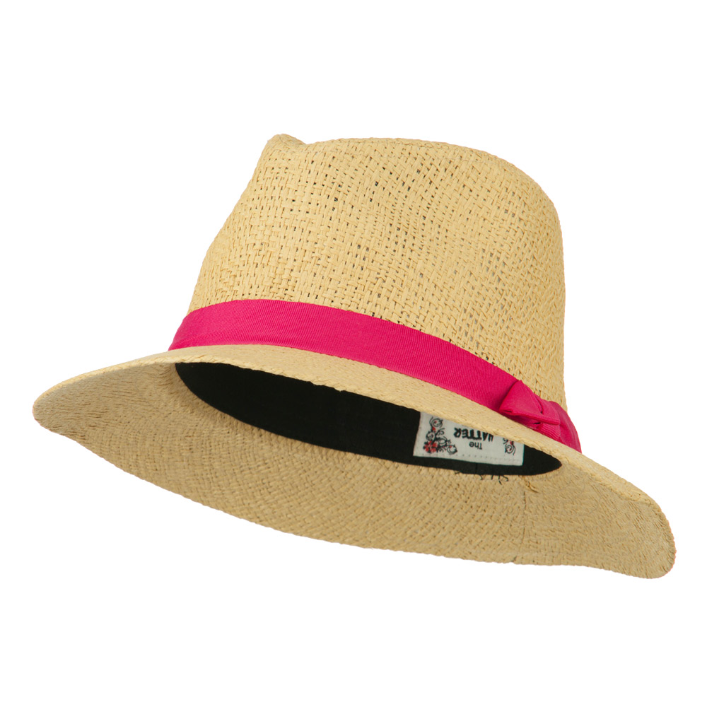 Panama Hat With Color Band - Pink