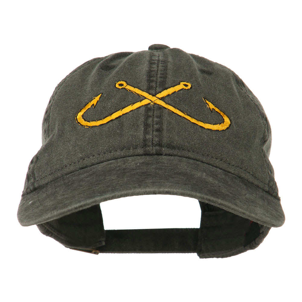 Fishing Crossed Fishhooks Embroidered Washed Cap - Black - Hats and Caps Online Shop - Hip Head Gear
