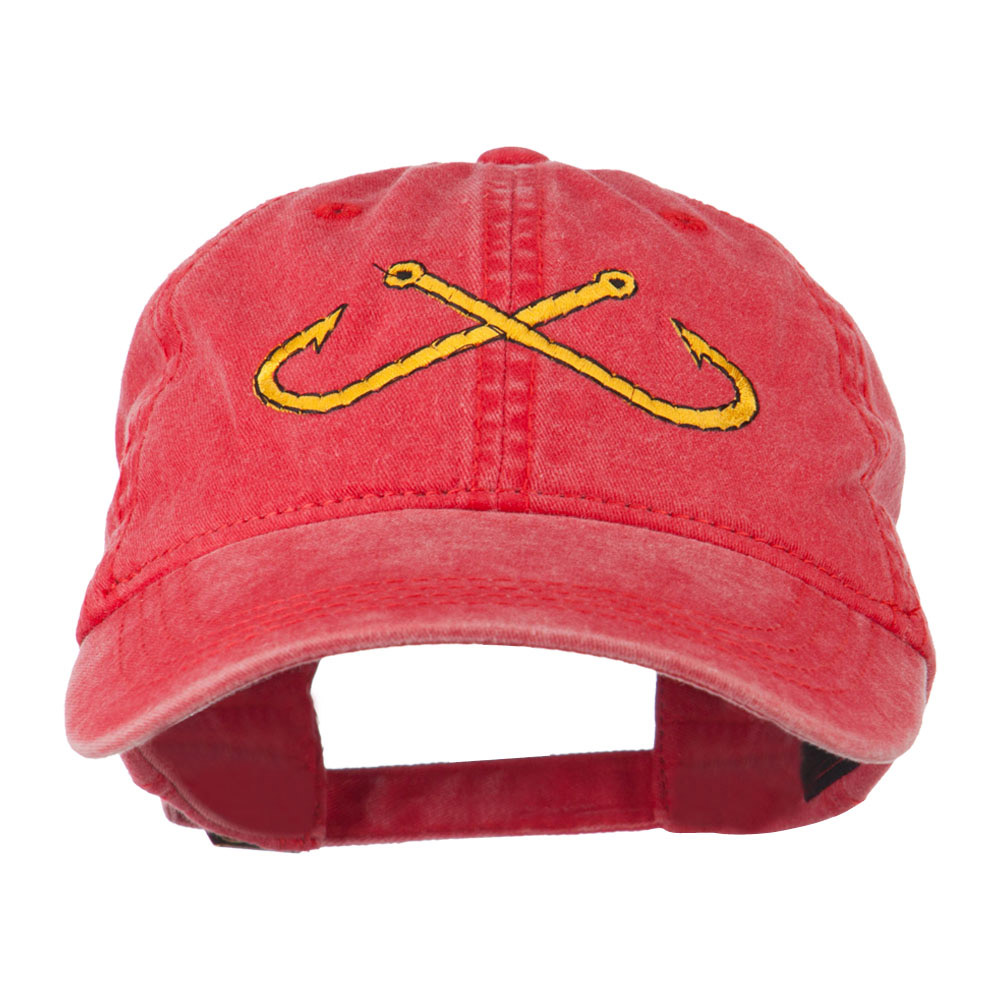 Fishing Crossed Fishhooks Embroidered Washed Cap - Red - Hats and Caps Online Shop - Hip Head Gear