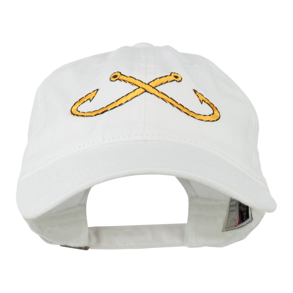 Fishing Crossed Fishhooks Embroidered Washed Cap - White - Hats and Caps Online Shop - Hip Head Gear