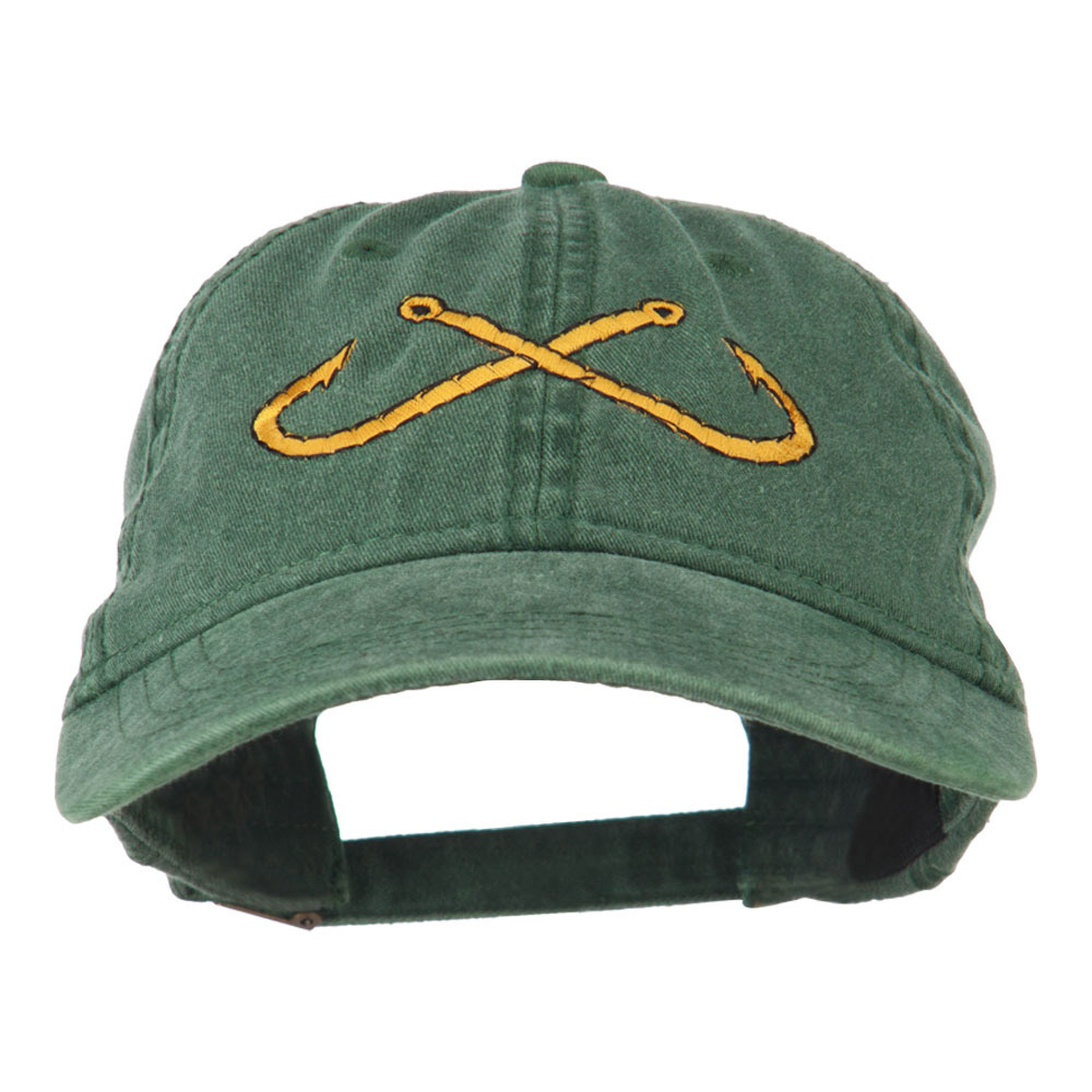 Fishing Crossed Fishhooks Embroidered Washed Cap - Dark Green - Hats and Caps Online Shop - Hip Head Gear