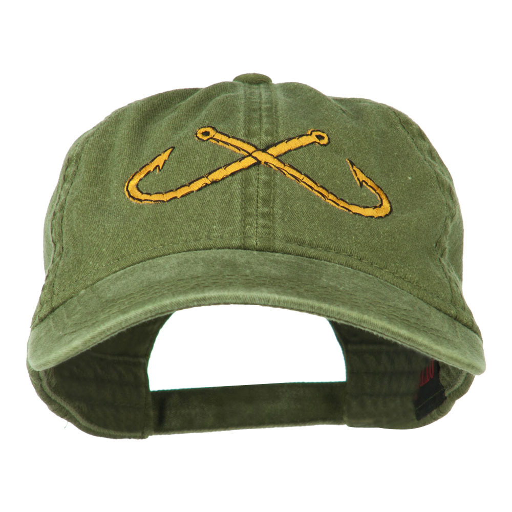 Fishing Crossed Fishhooks Embroidered Washed Cap - Olive Green - Hats and Caps Online Shop - Hip Head Gear
