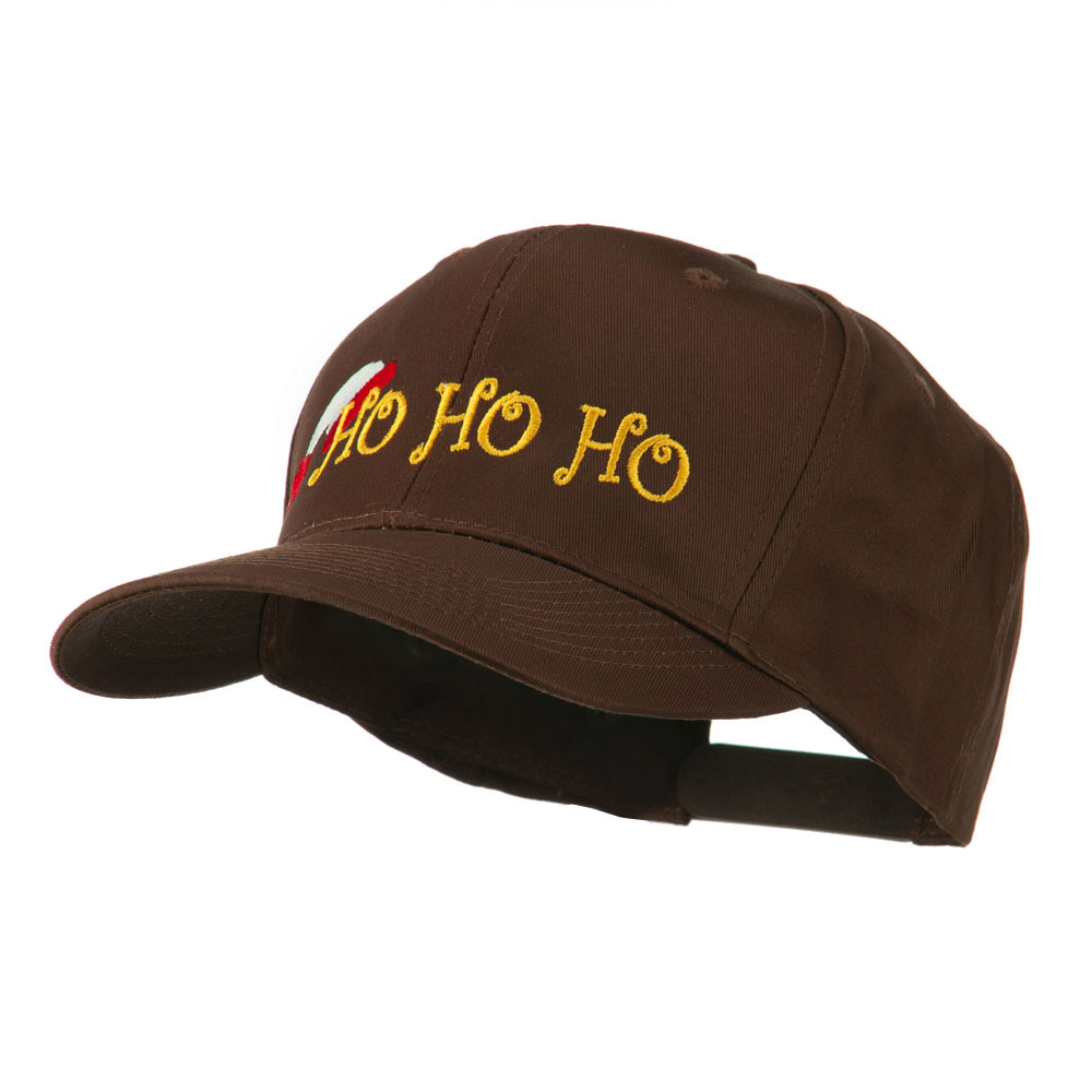 Christmas Ho Ho Ho with Hat Embroidered Cap - Brown - Hats and Caps Online Shop - Hip Head Gear