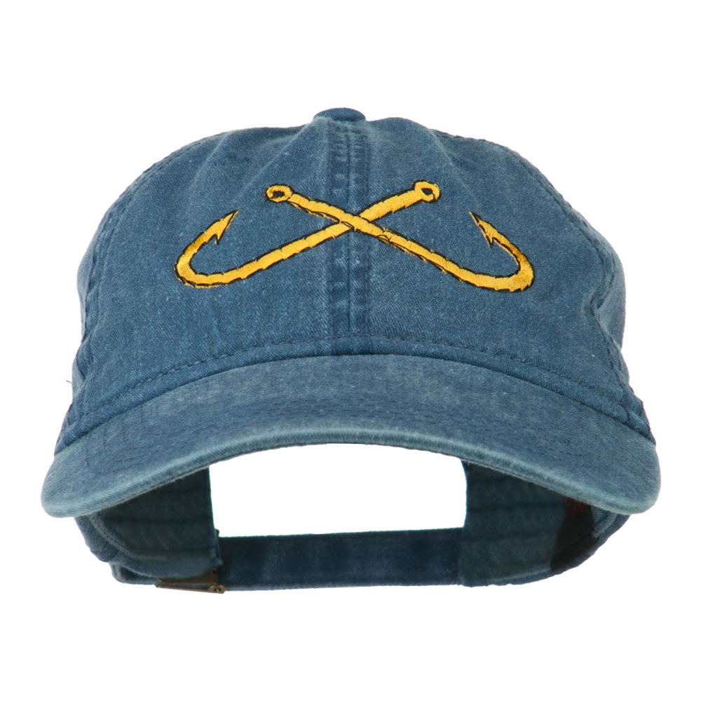 Fishing Crossed Fishhooks Embroidered Washed Cap - Navy - Hats and Caps Online Shop - Hip Head Gear