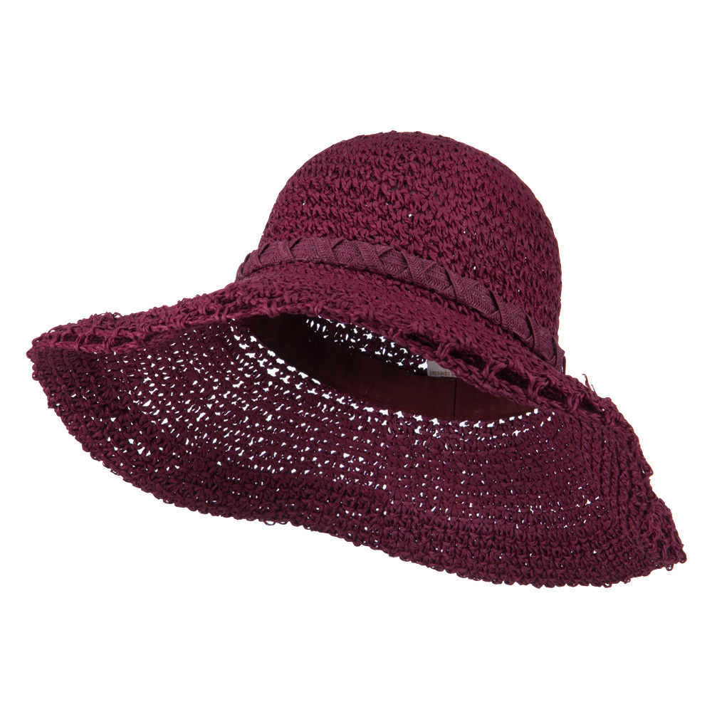 Handmade Crocheted Roll Up Hat - Berry - Hats and Caps Online Shop - Hip Head Gear