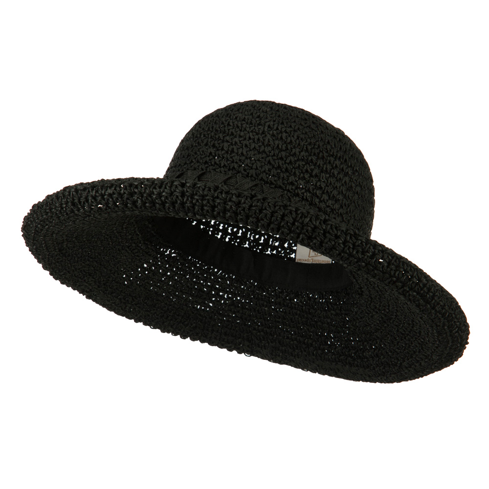 Handmade Crocheted Roll Up Hat - Black - Hats and Caps Online Shop - Hip Head Gear