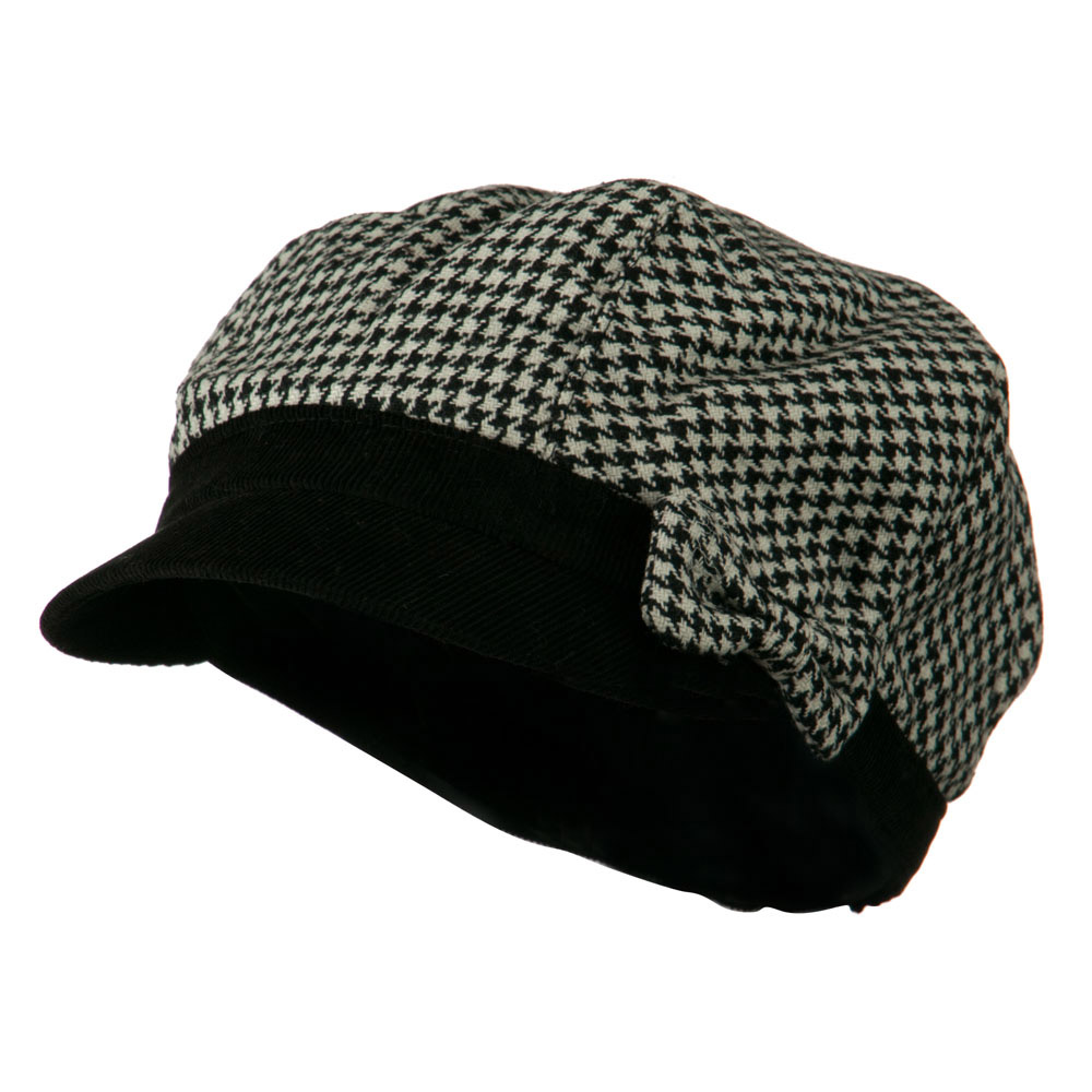 Libby Houndstooth Cabbie Cap - Black - Hats and Caps Online Shop - Hip Head Gear