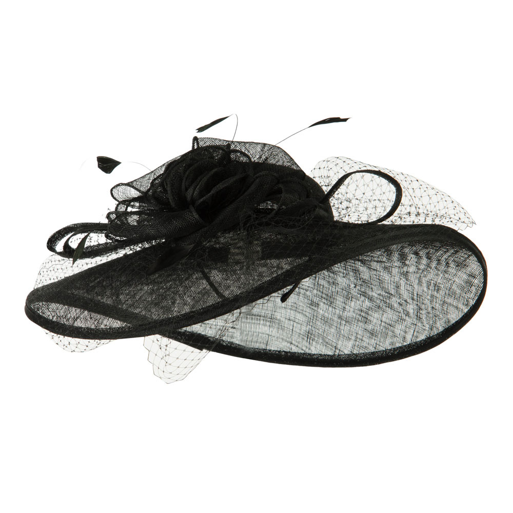 Netting Wide Brim Headband Sinamay Hat - Black - Hats and Caps Online Shop - Hip Head Gear