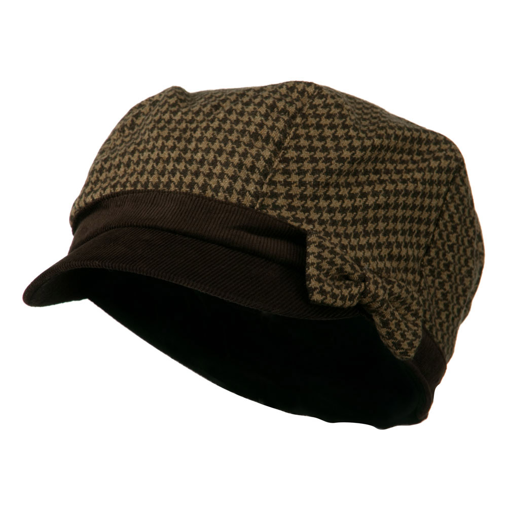 Libby Houndstooth Cabbie Cap - Brown - Hats and Caps Online Shop - Hip Head Gear
