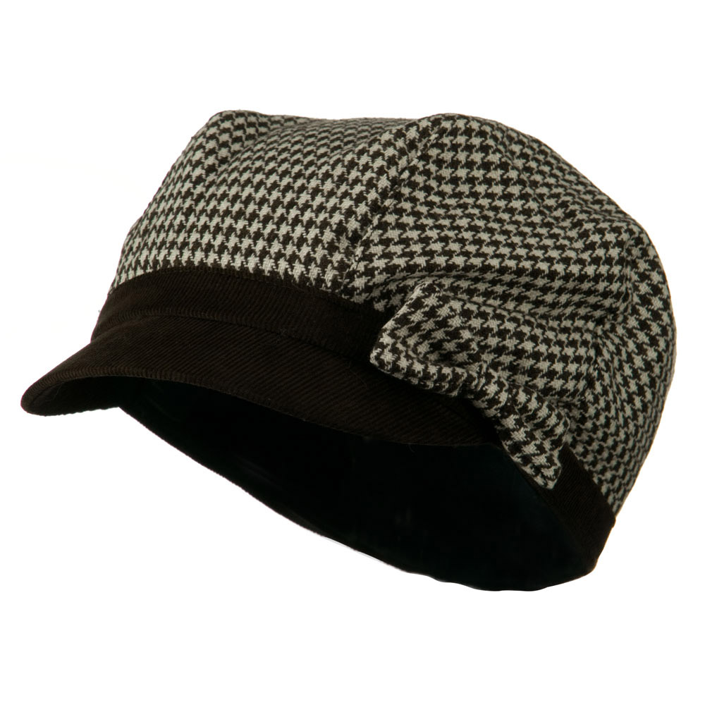Libby Houndstooth Cabbie Cap - Chocolate - Hats and Caps Online Shop - Hip Head Gear