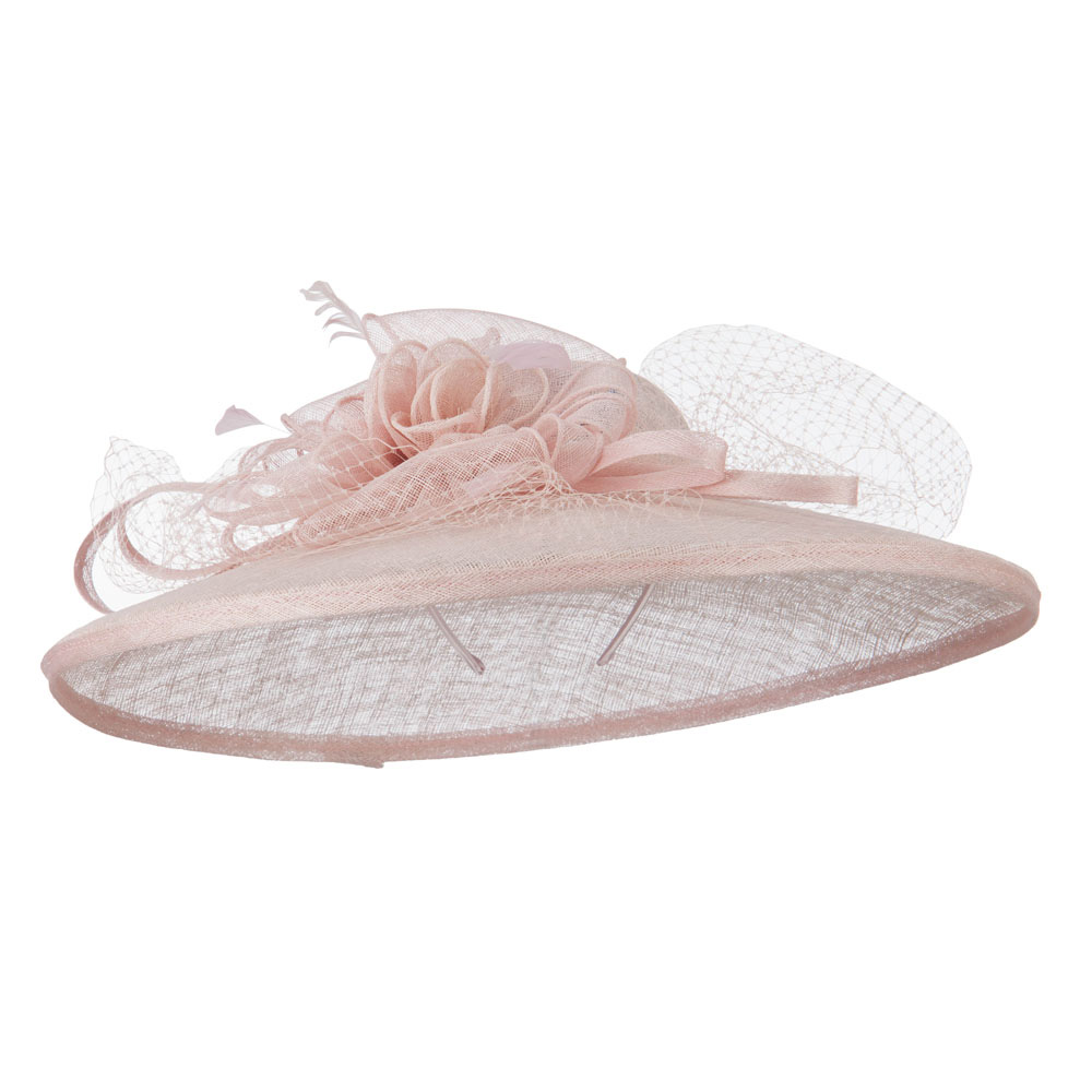 Netting Wide Brim Headband Sinamay Hat - Pink - Hats and Caps Online Shop - Hip Head Gear