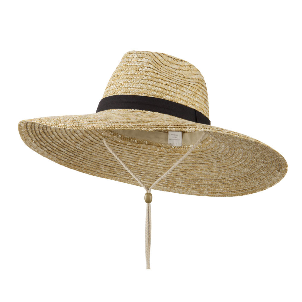 Wheat Straw Wide Brim Safari Hat - Natural Black - Hats and Caps Online Shop - Hip Head Gear