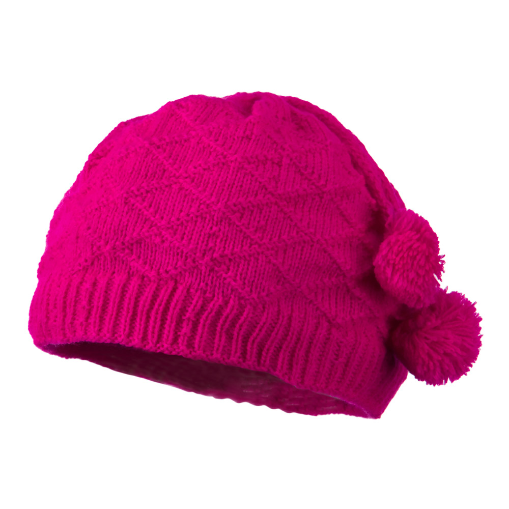 Infant Knitted Hat with Tassel - Hot Pink - Hats and Caps Online Shop - Hip Head Gear