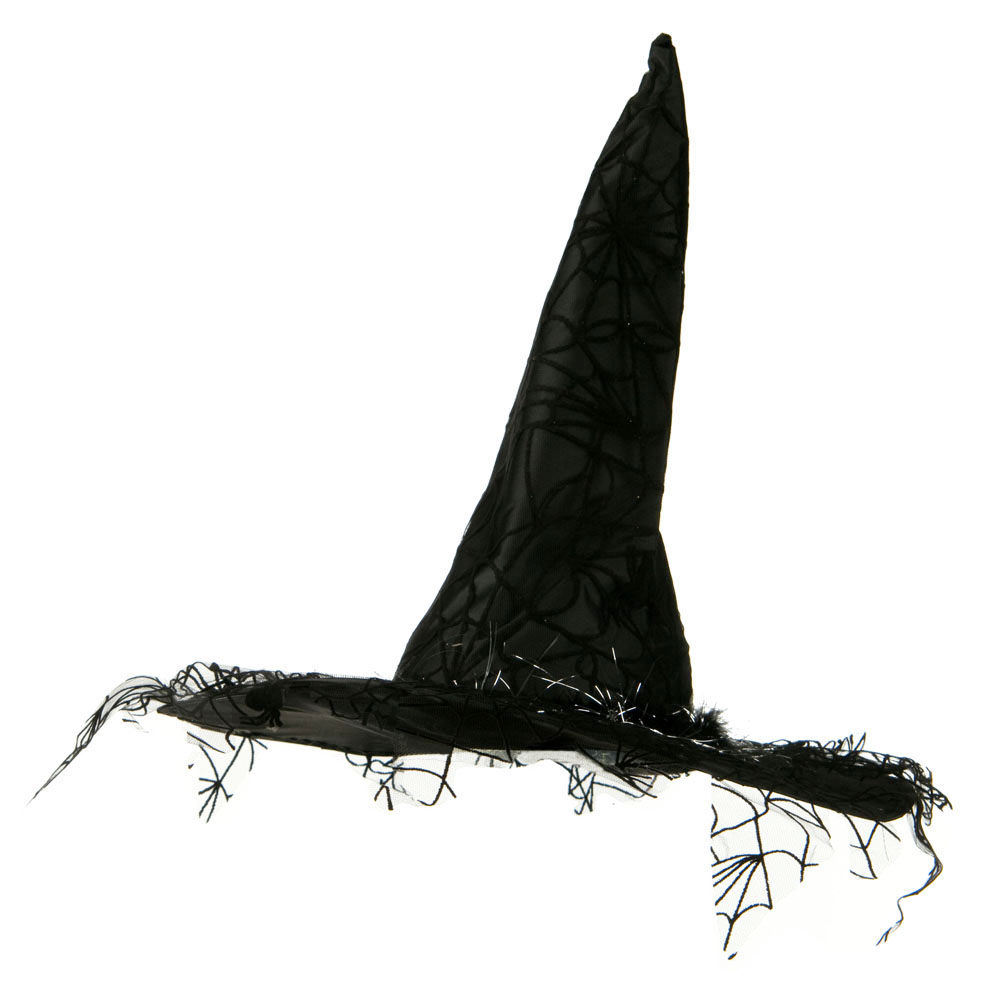 Velvet Satin Witch Hat - Black Spider - Hats and Caps Online Shop - Hip Head Gear
