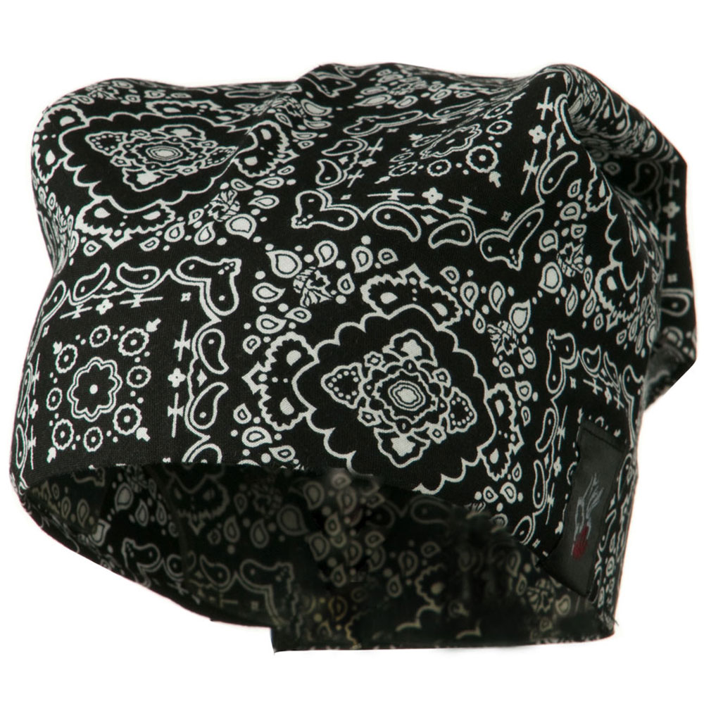 Headband Neckerchief Skull Cap-Paisley Black - Hats and Caps Online Shop - Hip Head Gear