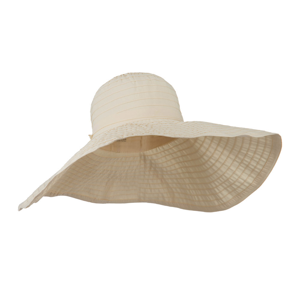 8 Inch Brim Self Tie Band Hat - Beige - Hats and Caps Online Shop - Hip Head Gear