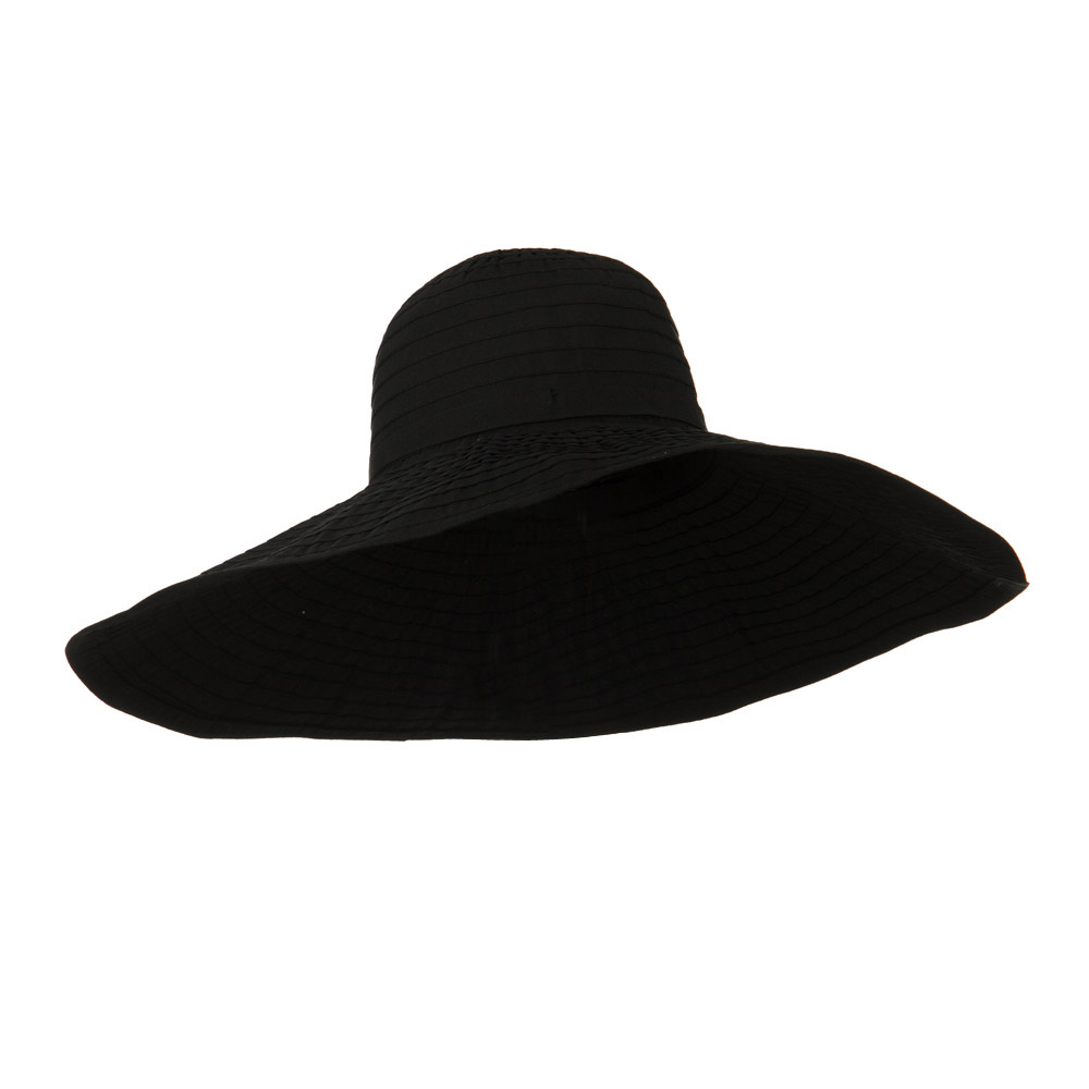 8 Inch Brim Self Tie Band Hat - Black - Hats and Caps Online Shop - Hip Head Gear