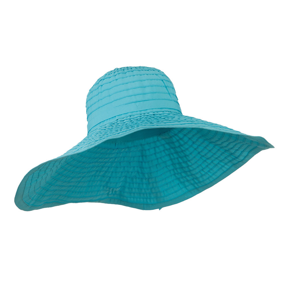 8 Inch Brim Self Tie Band Hat - Turquoise - Hats and Caps Online Shop - Hip Head Gear