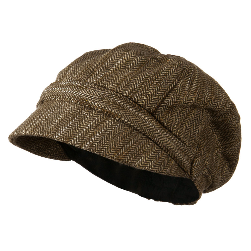 Jimi-Wool  Blend Cabbie With Button Band Detail - Brown Tweed - Hats and Caps Online Shop - Hip Head Gear