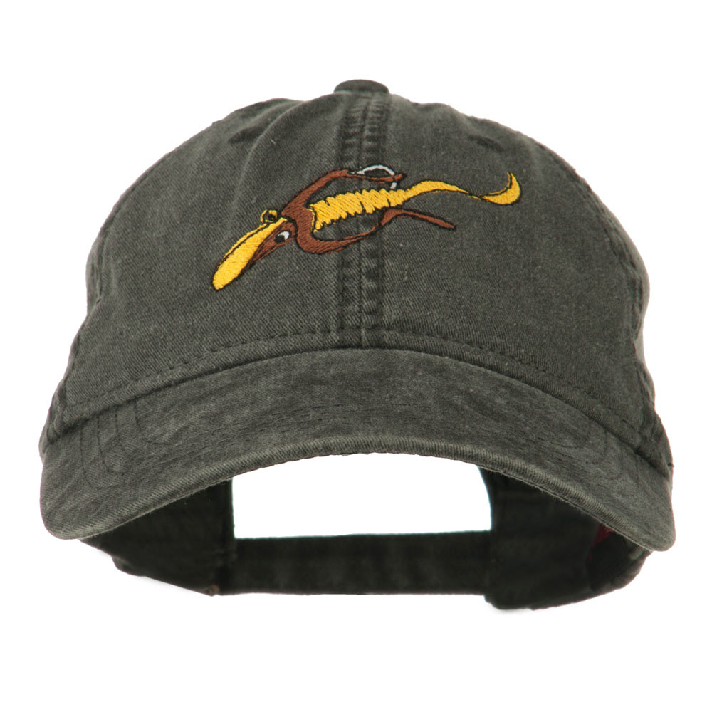Fishing Floating Jig Embroidered Washed Cap - Black - Hats and Caps Online Shop - Hip Head Gear