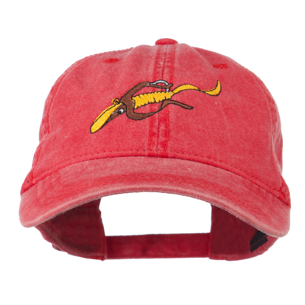 Fishing Floating Jig Embroidered Washed Cap - Red - Hats and Caps Online Shop - Hip Head Gear