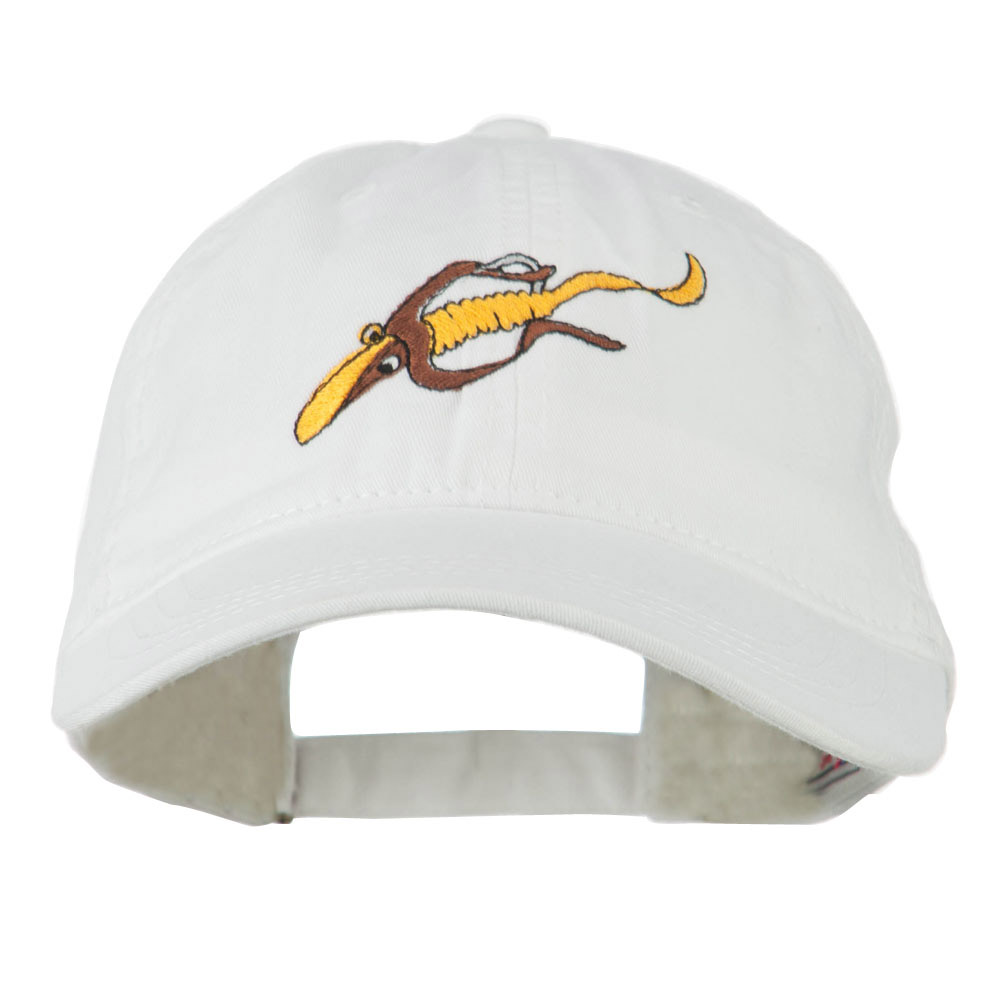Fishing Floating Jig Embroidered Washed Cap - White - Hats and Caps Online Shop - Hip Head Gear