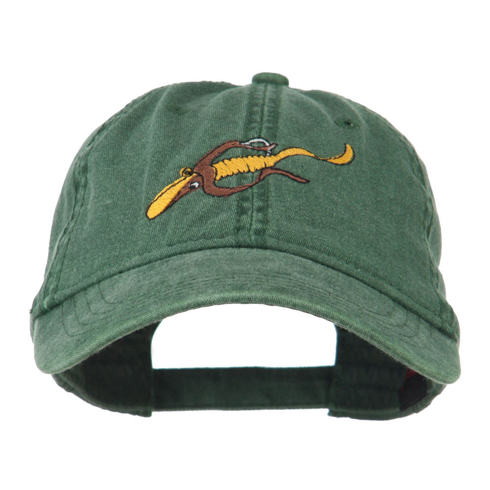 Fishing Floating Jig Embroidered Washed Cap - Dark Green - Hats and Caps Online Shop - Hip Head Gear