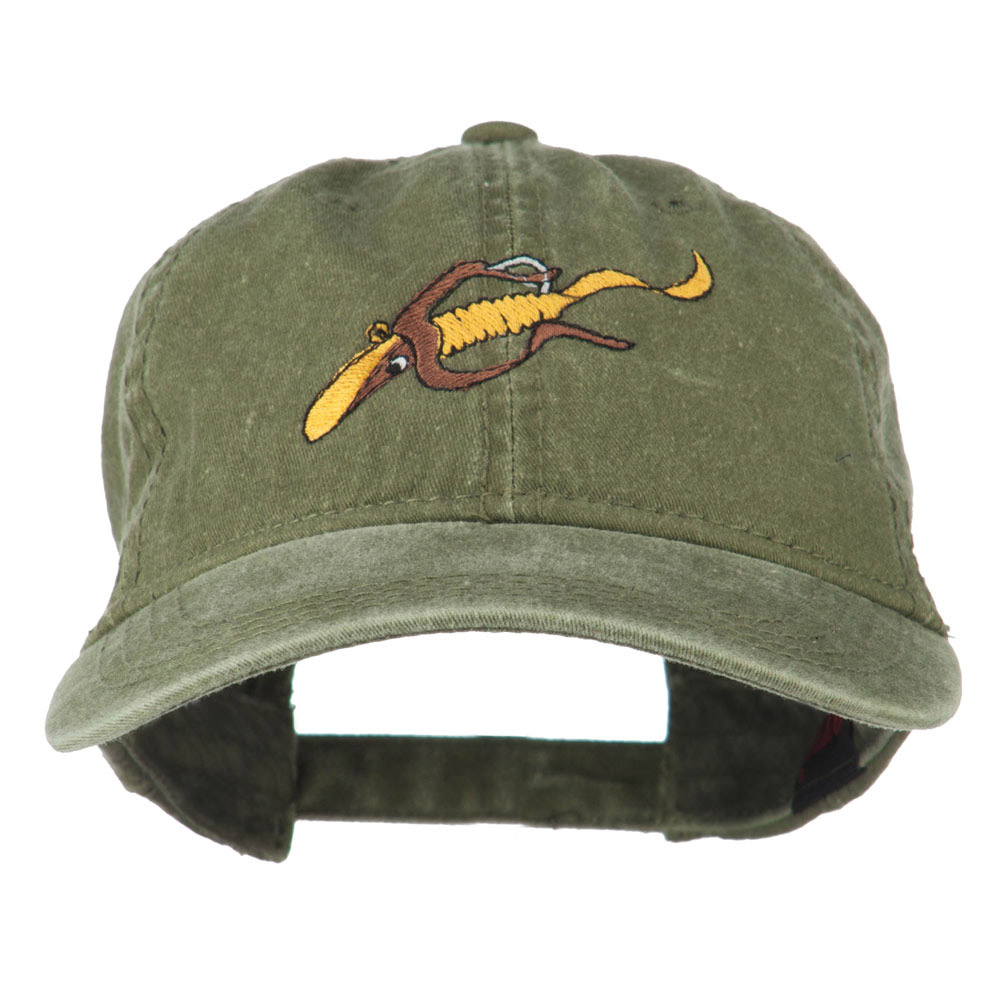 Fishing Floating Jig Embroidered Washed Cap - Olive Green - Hats and Caps Online Shop - Hip Head Gear