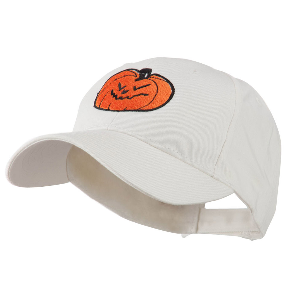 Halloween Evil Jack O Lantern Embroidered Cap - White - Hats and Caps Online Shop - Hip Head Gear