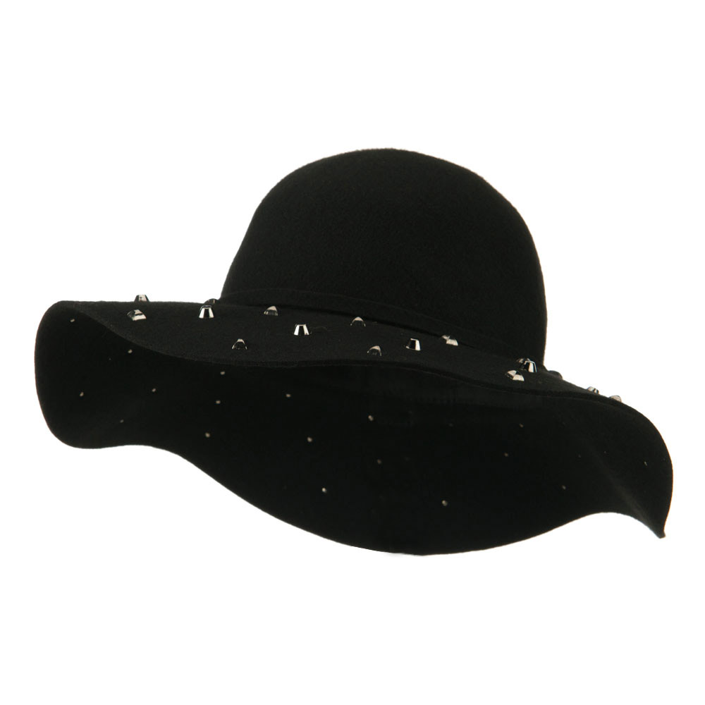 Wool Felt Wide Brim with Studs Hat - Black - Hats and Caps Online Shop - Hip Head Gear