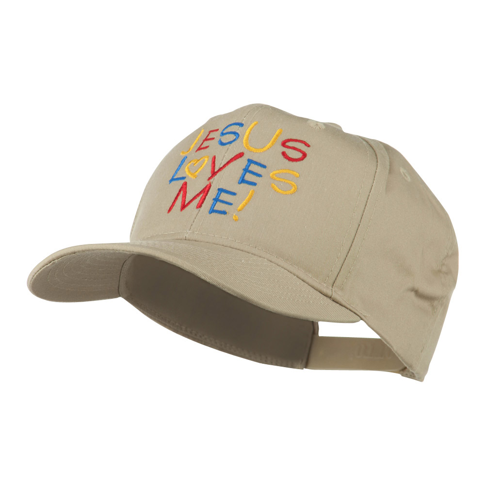 Jesus Loves Me Embroidered Cap - Khaki - Hats and Caps Online Shop - Hip Head Gear