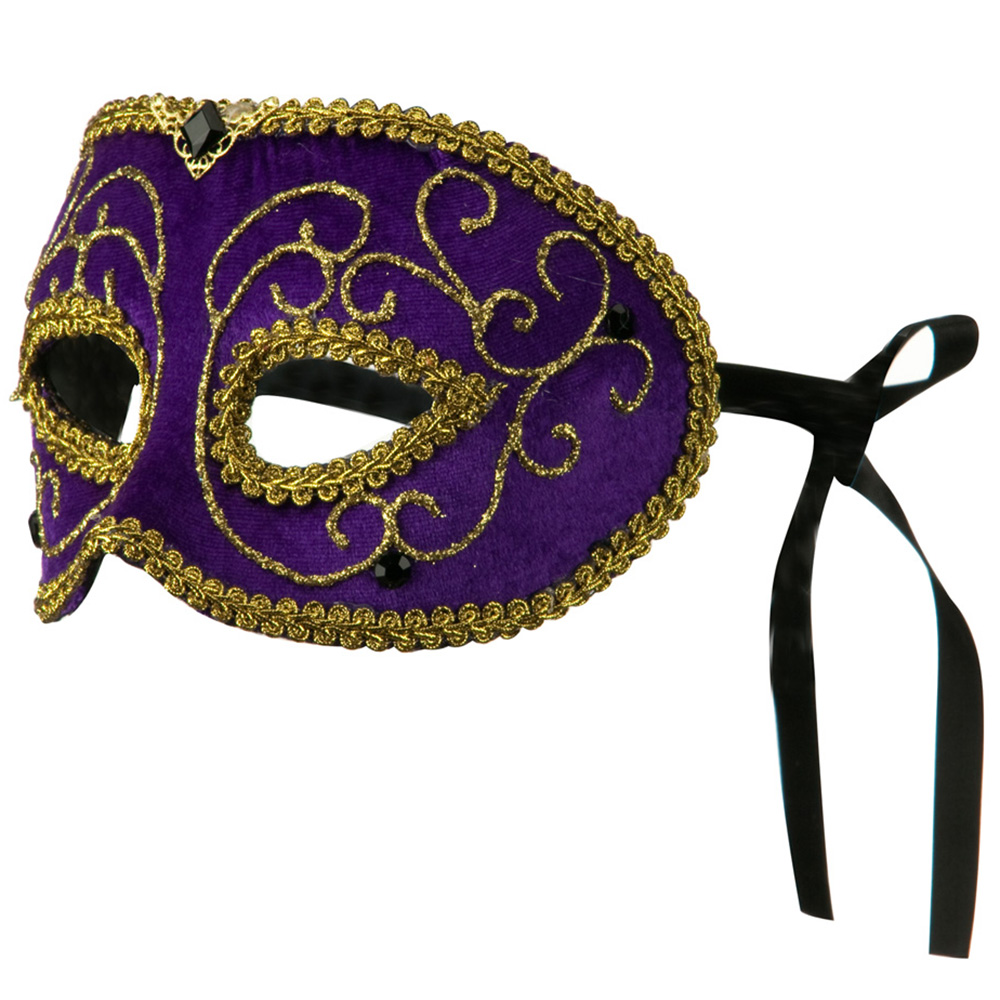 Mardi Gras Jewelry Mask - Purple Gold - Hats and Caps Online Shop - Hip Head Gear
