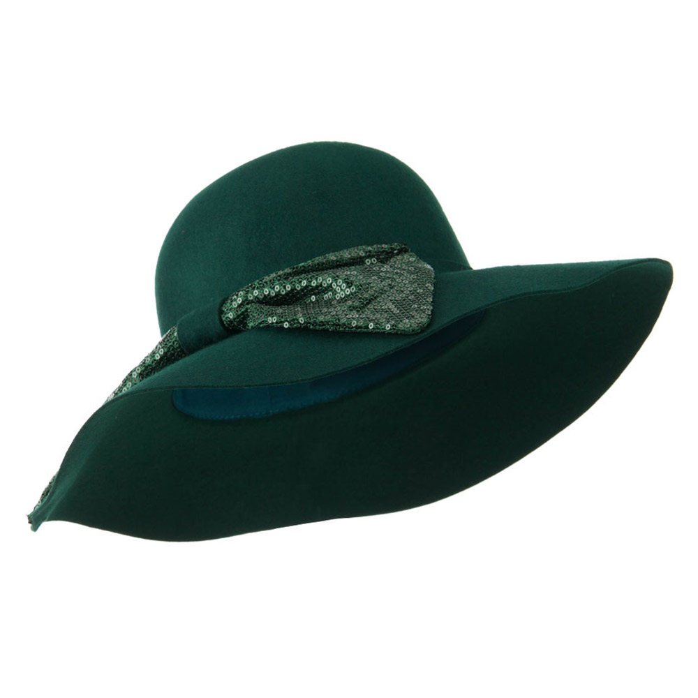 Wool Felt Wide Brim with Big Sequin Bow Hat - Green - Hats and Caps Online Shop - Hip Head Gear