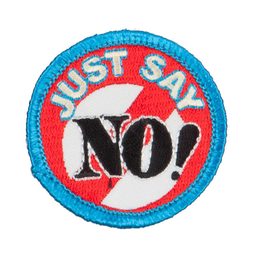 Just Say No Embroidered Patch - Blue