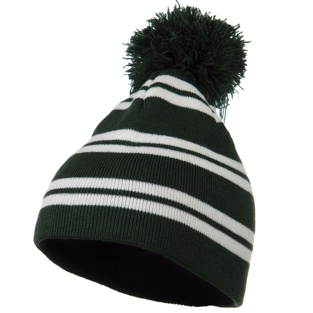 Jacquard White Stripe Knit Beanie with Pom - Dark Green - Hats and Caps Online Shop - Hip Head Gear