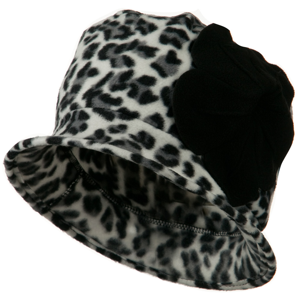 Ladies Flower Fleece Crushable Bucket Hat - Cheetah White - Hats and Caps Online Shop - Hip Head Gear