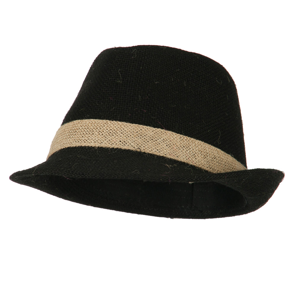 Jute Polyester Fedora with Band - Black - Hats and Caps Online Shop - Hip Head Gear