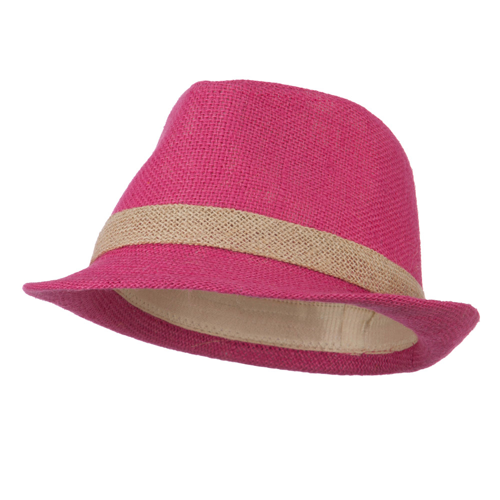 Jute Polyester Fedora with Band - Fuchsia - Hats and Caps Online Shop - Hip Head Gear