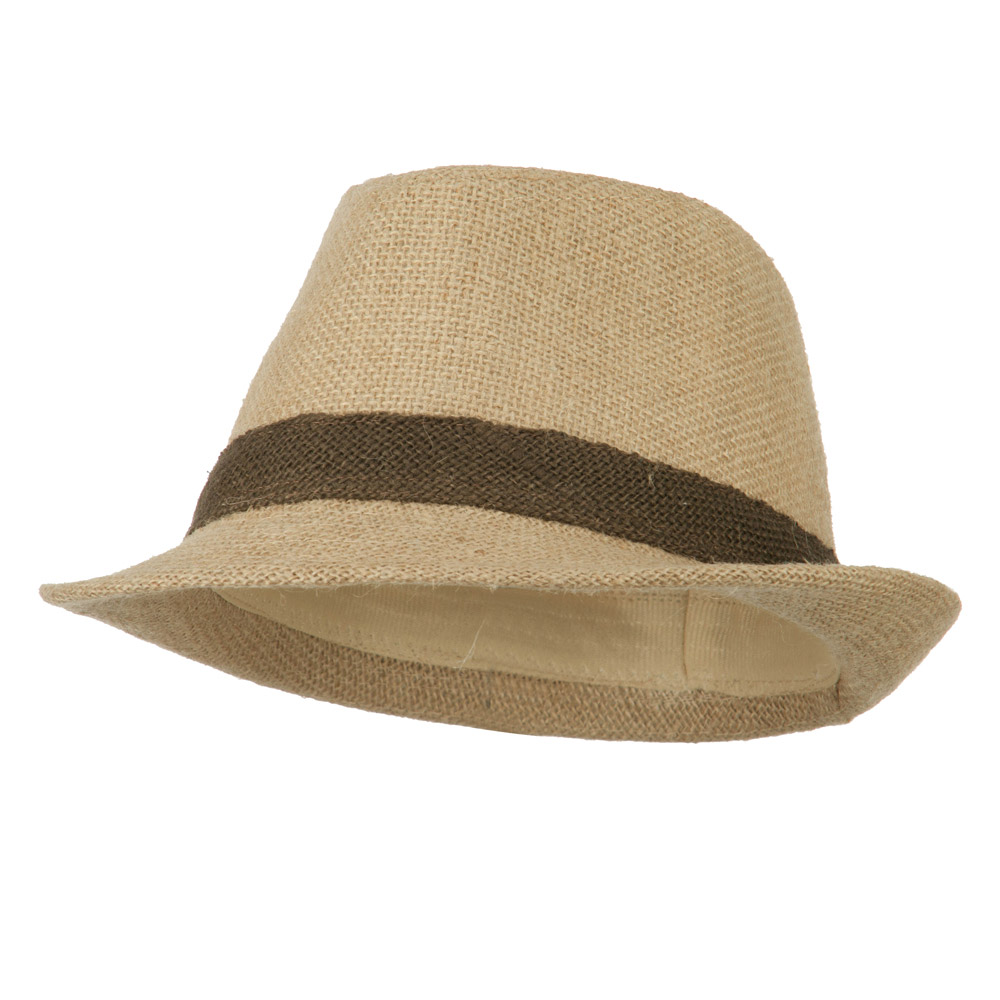 Jute Polyester Fedora with Band - Natural - Hats and Caps Online Shop - Hip Head Gear