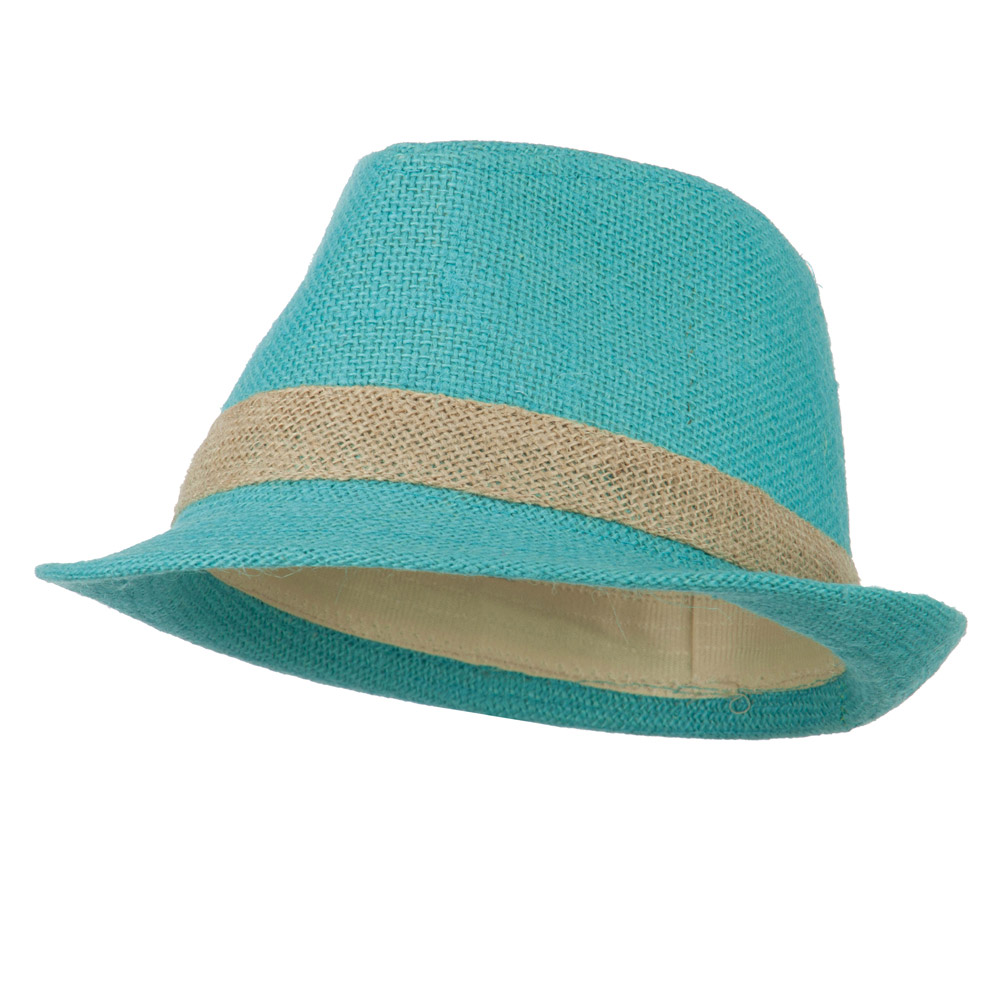 Jute Polyester Fedora with Band - Turquoise - Hats and Caps Online Shop - Hip Head Gear