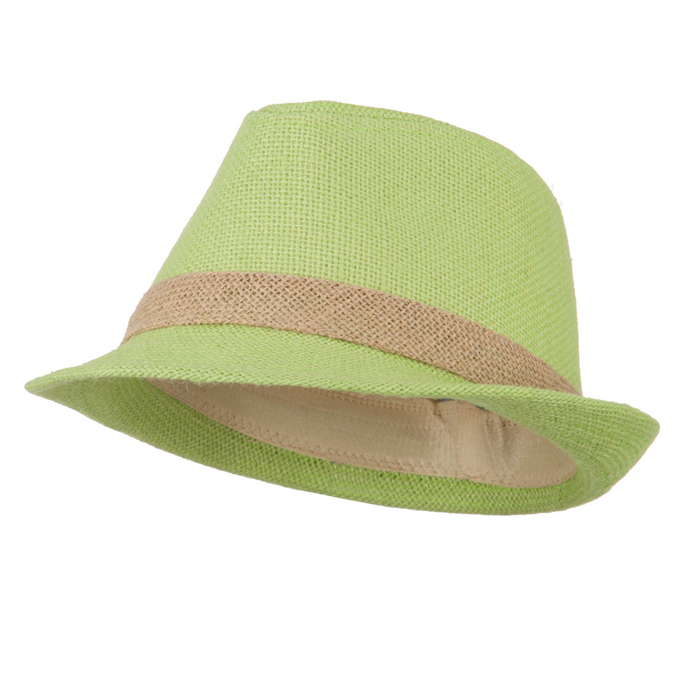 Jute Polyester Fedora with Band - Lime - Hats and Caps Online Shop - Hip Head Gear