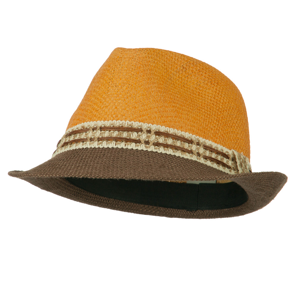 Paper Straw Jute Brim Accent Fedora - Apricot - Hats and Caps Online Shop - Hip Head Gear