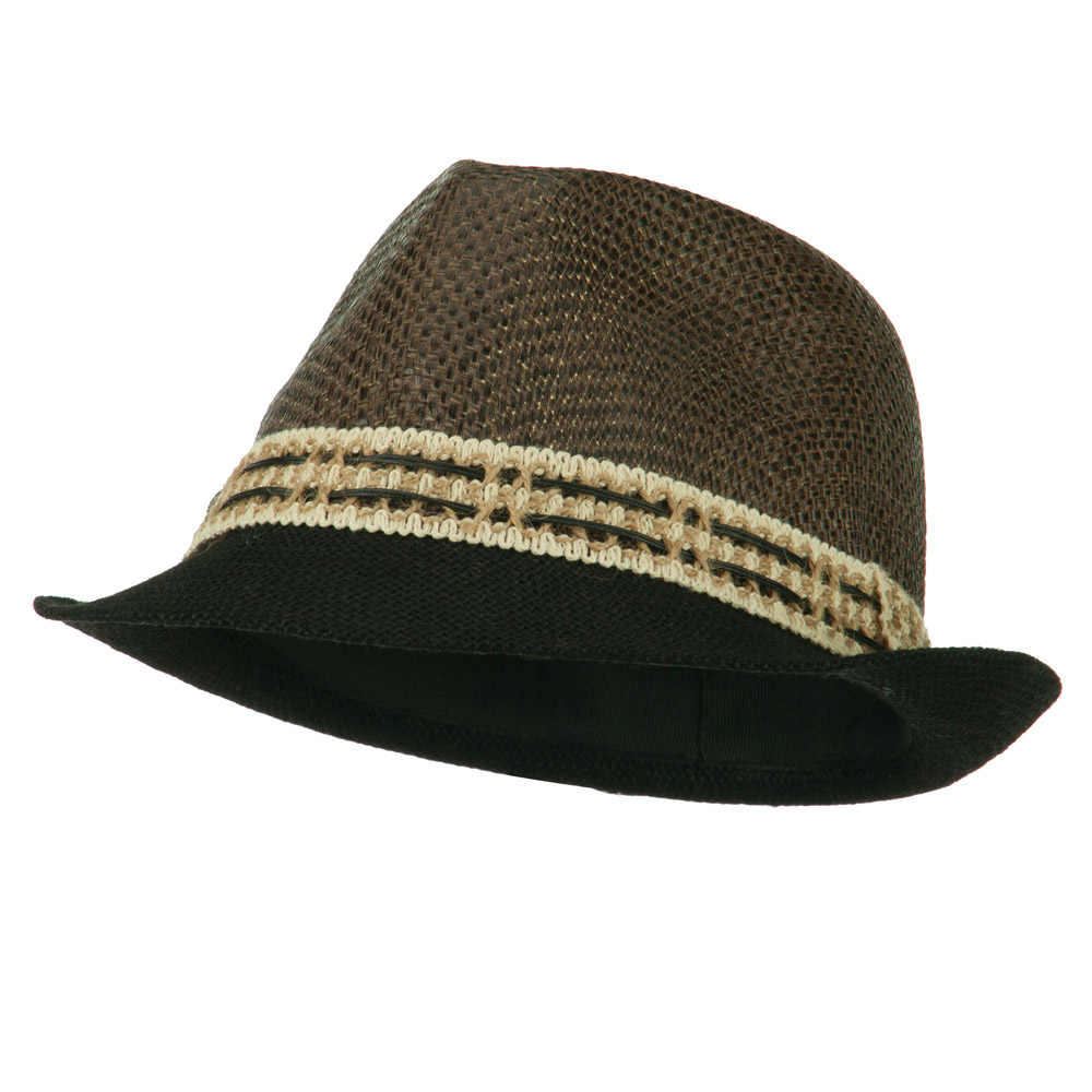 Paper Straw Jute Brim Accent Fedora - Black - Hats and Caps Online Shop - Hip Head Gear
