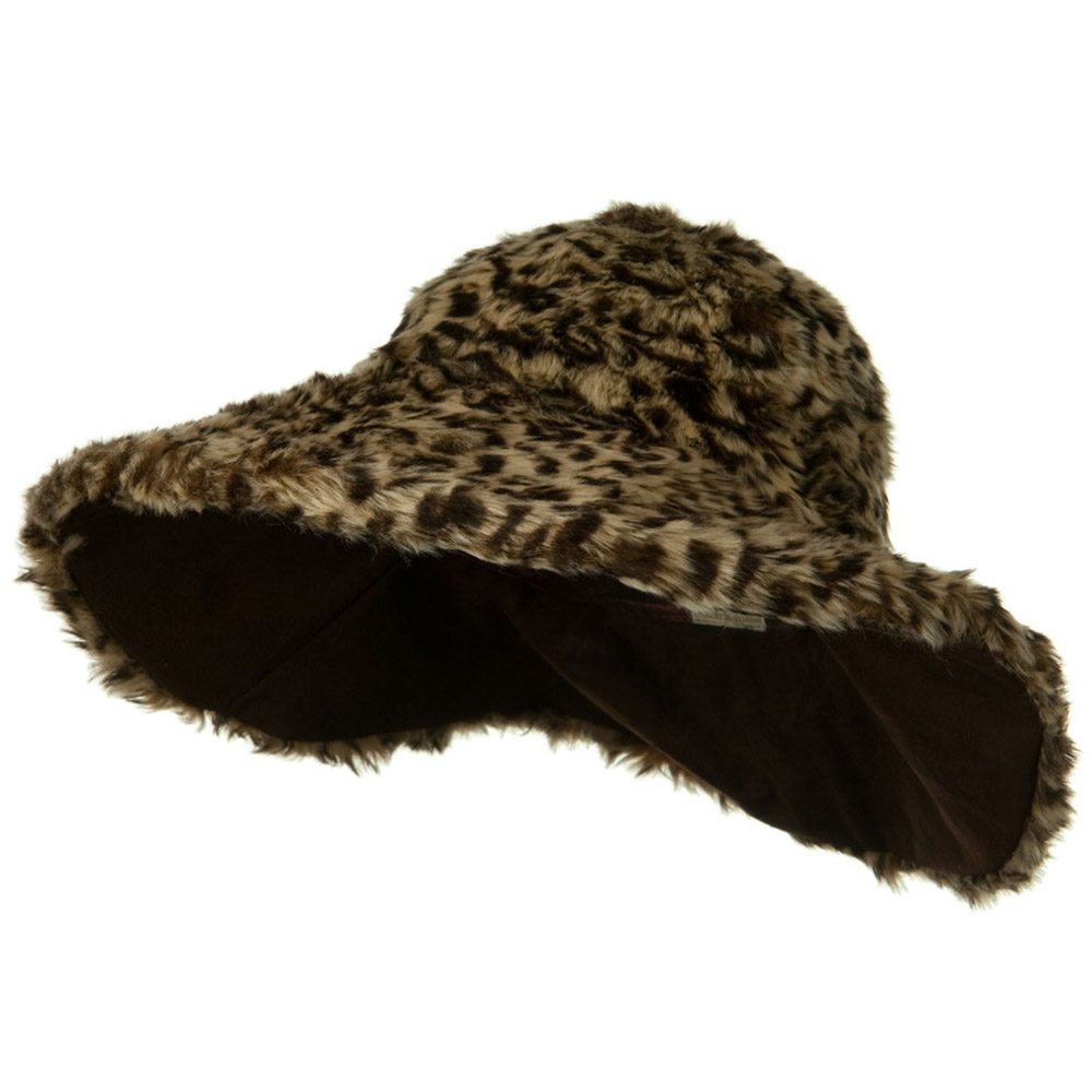 Animal Fur Wide Brim Hat - Cheetah - Hats and Caps Online Shop - Hip Head Gear
