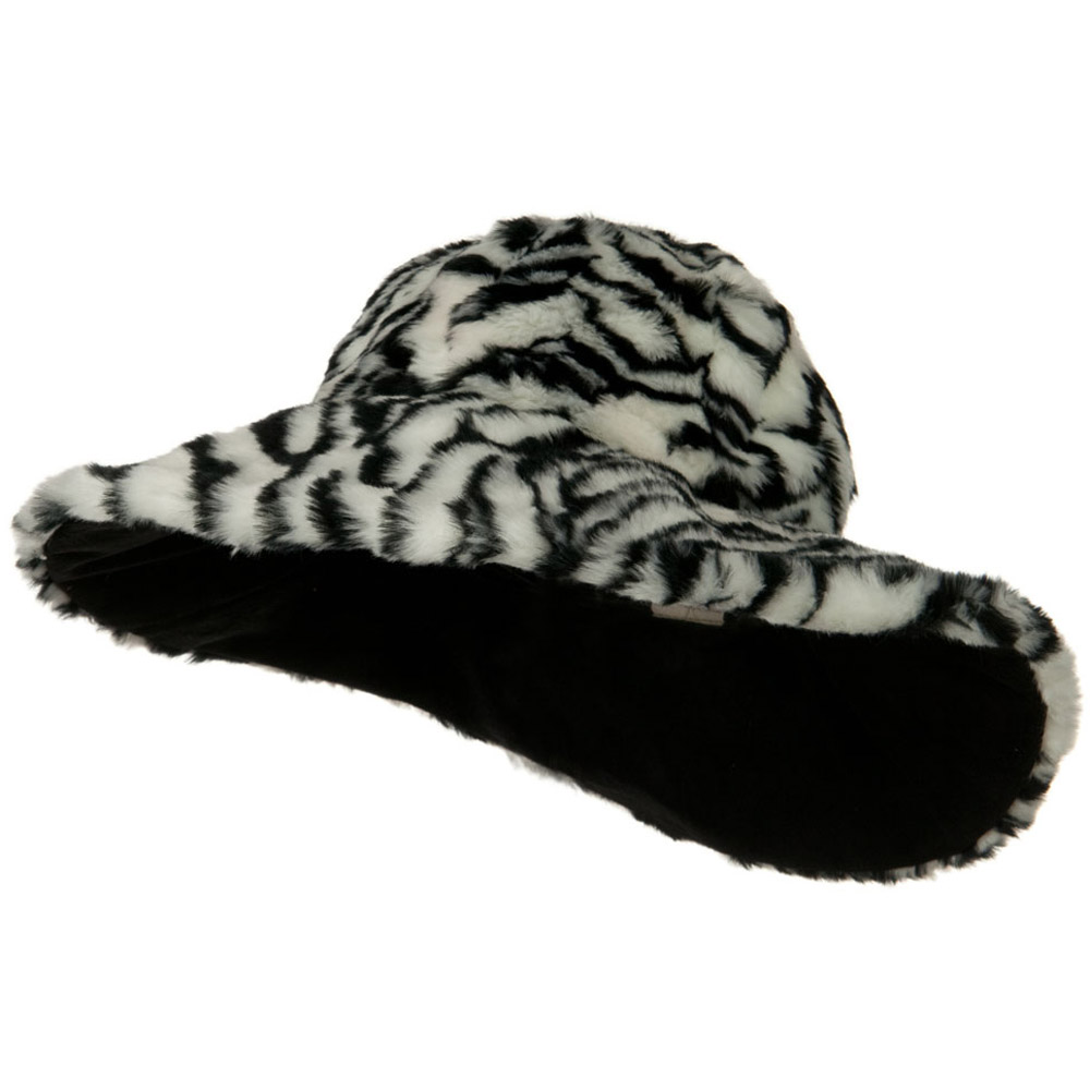 Animal Fur Wide Brim Hat - Zebra - Hats and Caps Online Shop - Hip Head Gear