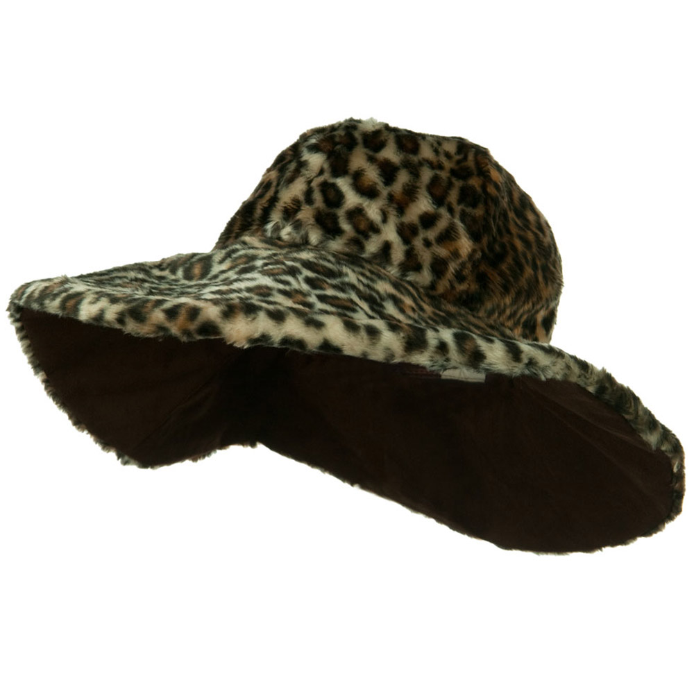 Animal Fur Wide Brim Hat - Leopard - Hats and Caps Online Shop - Hip Head Gear